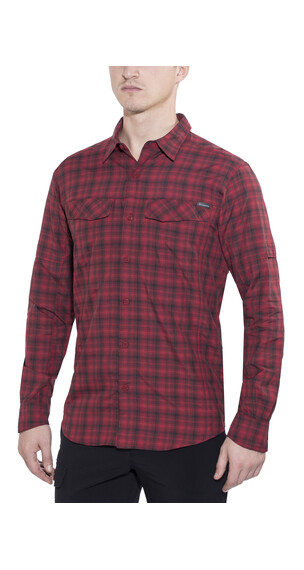 Columbia Silver Ridge Plaid Long Sleeve Shirt Men Mountain Red Ripstop